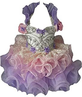 Baby Girls Halter Crystal Short Ball Gowns Cupcake Pageant Dresses Mini193