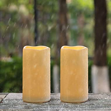 """Amagic 3"""" x 6"""" Outdoor Waterproof Flameless Candles - Battery Operated LED Pillar Candles with Remote Control and Tim"""