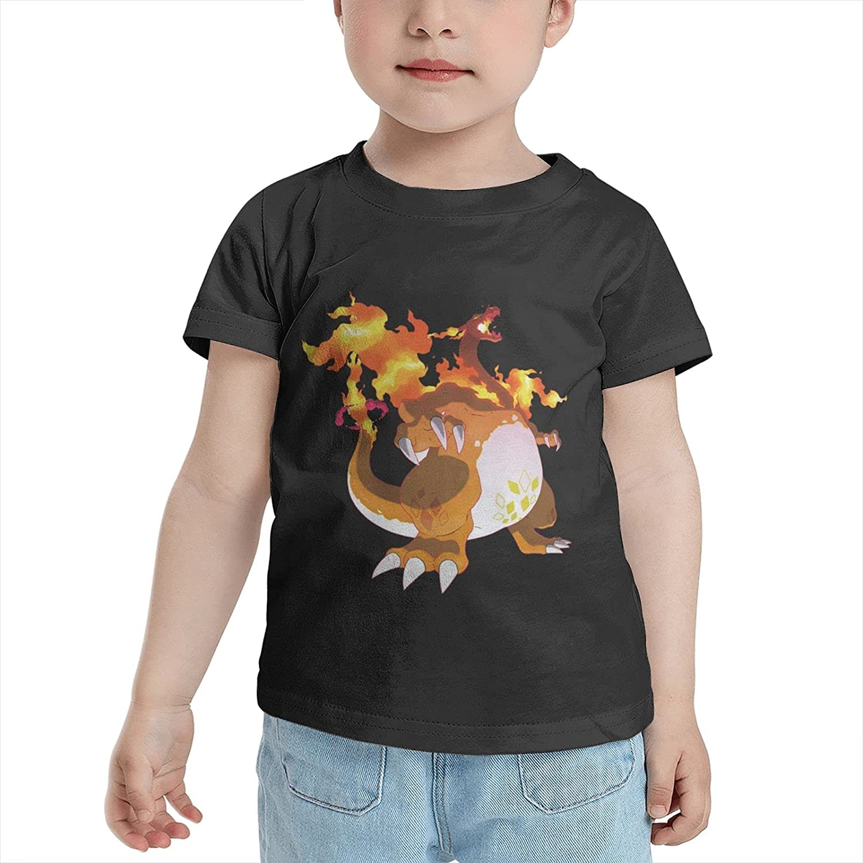 Poke Fire Charizard T Shirt Boys Child Shirts Crewneck Short Sleeve Tops T-Shirts Tshirts for Boy Girl's Boy's