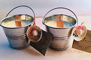 2 Velas artesanales con CITRONELA - MONTE VITRO con pabilo ecologico de madera.