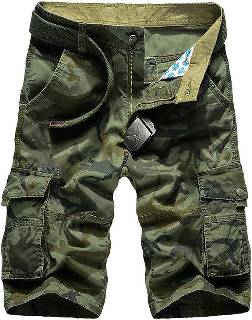 VMANNER Men's Cotton Camo Relaxed Fit Multi Pocket Cargo Shorts