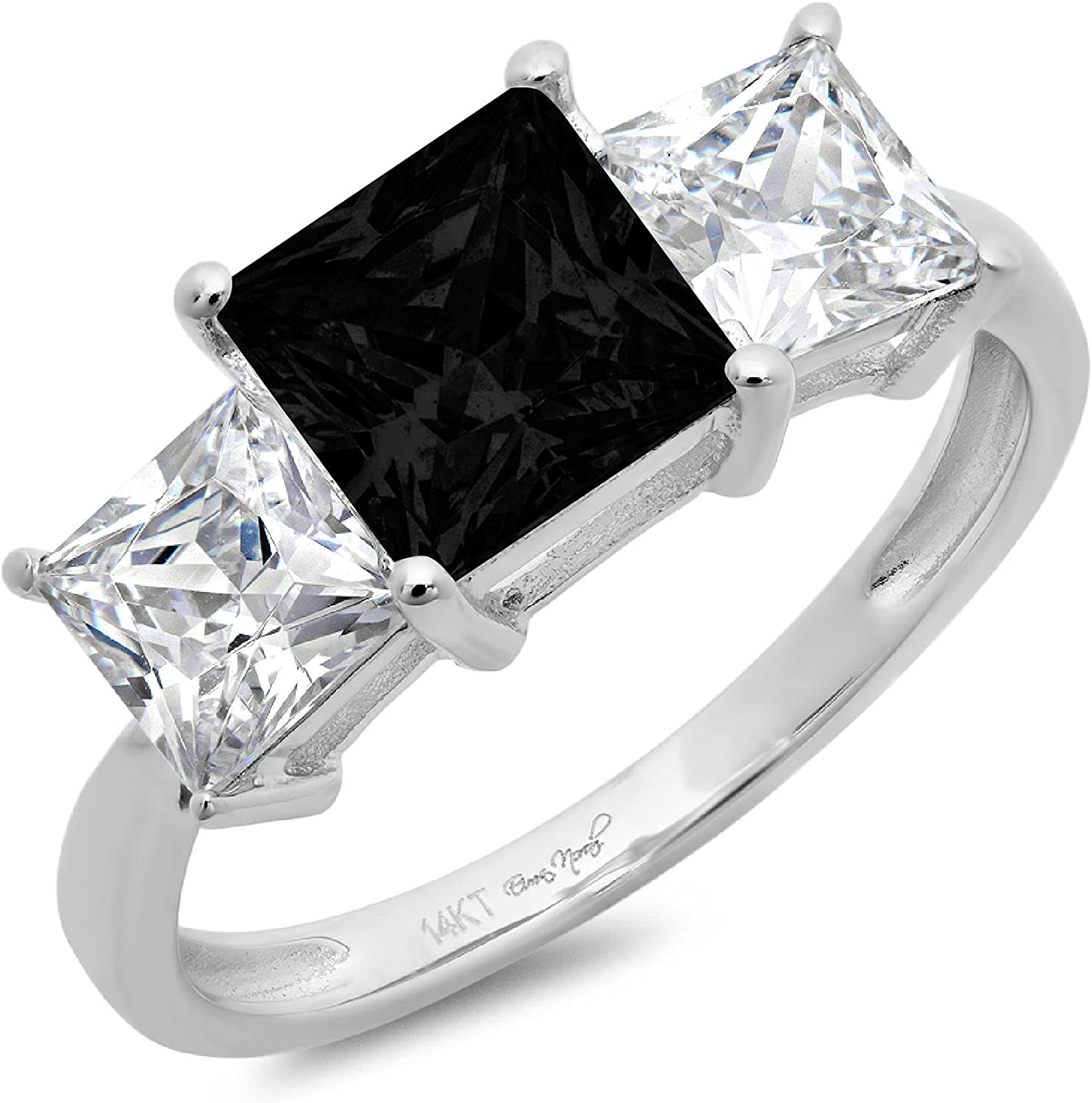 Los Angeles Mall Gorgeous 3.0ct Brilliant Princess Cut 3 Solitaire with Stone Accent Flawl