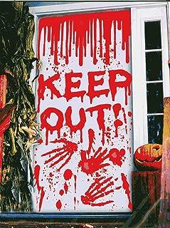 Halloween Window Door Cover for Haunted House Halloween Decorations Scary Bloody Handprint Blood Dripping Splatters Prop D...