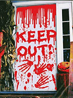 Halloween Window Door Cover for Haunted House Halloween Decorations Scary Bloody Handprint Blood Dripping Splatters Prop Decor - Caution Stay Away - Keep Out (Keep Out!)