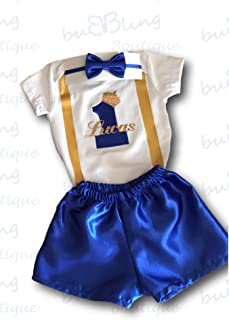 Cake Smash Outfit Baby Boy First Birthday Prince Bodysuit Bow tie and Shorts Personalised