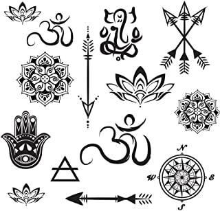 Temporary Tattoo Yoga Set - Small Arrows, Mandalas, Lotus, Hamsa, Compass, Ganesh Realistic Body Art - Made in the USA - FDA Approved