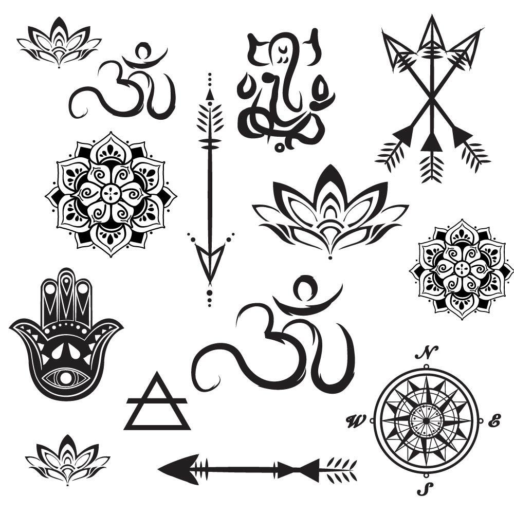 Temporary Tattoo Yoga Set - Lotus Mandalas Small Arrows Free shipping Seasonal Wrap Introduction Hamsa