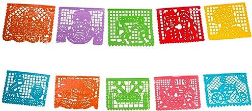 FANMEX - Fantastik - Auténtico Papel picado Mexicano - Modelo Calaveras 5 Metros - Decoración día de Muertos (Plástico)