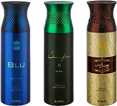 Ajmal Blu & Sacrifice II & Wisal Dahab Deodorant Spray For Men 200ml each (Pack of 3, 600ml) + 3 Parfum Testers Free