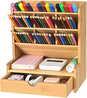 Marbrasse Bamboo Art Supply Desk Organizer, Pen Holder with 9 Compartments + Drawer, Pen Organizer for Desk, Desktop Stati...