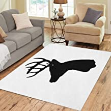 Semtomn Area Rug 5' X 7' Buck Whitetail Deer Head Silhouette Woods Antler Archery Arrow Home Decor Collection Floor Rugs Carpet for Living Room Bedroom Dining Room