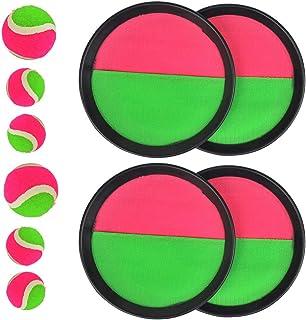 TIMESETL 4 Piezas de Juego de Bola y Lanzamiento Juego de Lanzamiento de Disco y Paleta con 1 Bolsa de Almacenamiento(2 tamaños)