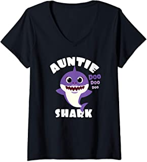 Womens Auntie Shark Gift Cute Shark Baby Design Family Set Women V-Neck T-Shirt