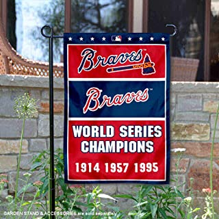 WinCraft Atlanta Braves 3-Time World Series Champions Double Sided Garden Flag
