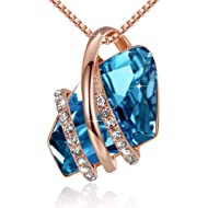 Leafael Wish Stone Pendant Necklace Made Swarovski Crystals Birthstone Jewelry Gifts Women, Rose...