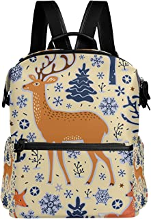 Deer Print Simple Backpack School Bags Casual Stylish Outdoor Sports Large Capacity Casual Travel Rucksack Student College Bookbag for Men Women Teenagers