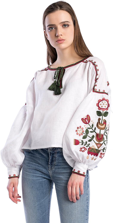 ETNODIM Woman Floral Ukrainian Ethnic Embroidered Linen Black Red Shirt Vyshyvanka Long Sleeve Tops Blouse (White, Medium)