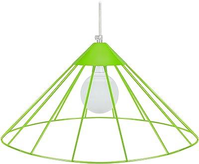 Tosel 15040 Paraguayo-Lampada a sospensione a filo in acciaio, finitura epossidica, 480 x 900 mm, colore: verde