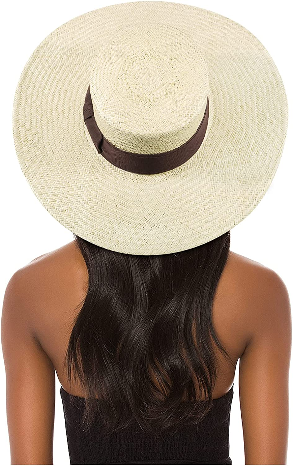 FEMSÉE Straw Beach Hat - Sun Hats for Women and Men Flat Top Classic Boater Hat