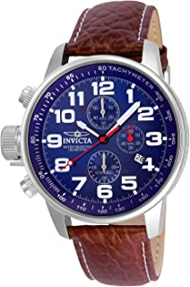 Invicta Men's 3328 Force Collection Stainless Steel Left-Handed Watch with Leather Band, Brown/Blue Dial