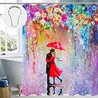 SHOE GONE Purple Shower Curtain Watercolor Floral Shower Curtain Abstract Flower Shower Curtain Bathroom Set with 12 Metal Hooks 72×72