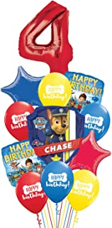 Paw Patrol Ziggos Party 4th Birthday Balloon Kit Includes Foil and Latex Balloons and Precut Ribbon