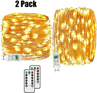 Ylife 2 Pack Fairy Lights USB Plug in, 16.4Ft 50 LED, 8 Modes String Lights with Remote Control, IP 67 Waterproof, Mini Decorative Copper Wire Lights for Festival Party