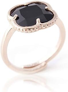lapiar Anillo Ajustable con Piedra Onix Negra Plata chapada en Oro Rosa de 24 Quilates