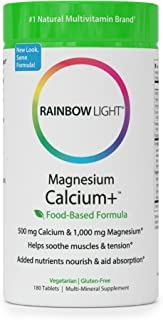 Rainbow Light - Magnesium Calcium + - Vitamin D Mineral Supplement; Vegetarian, Gluten Free; Supports Digestion, Helps Soothe Muscle Aches in Athletes - 500mg Calcium, 400 IU Vitamin D3 - 180 Tablets