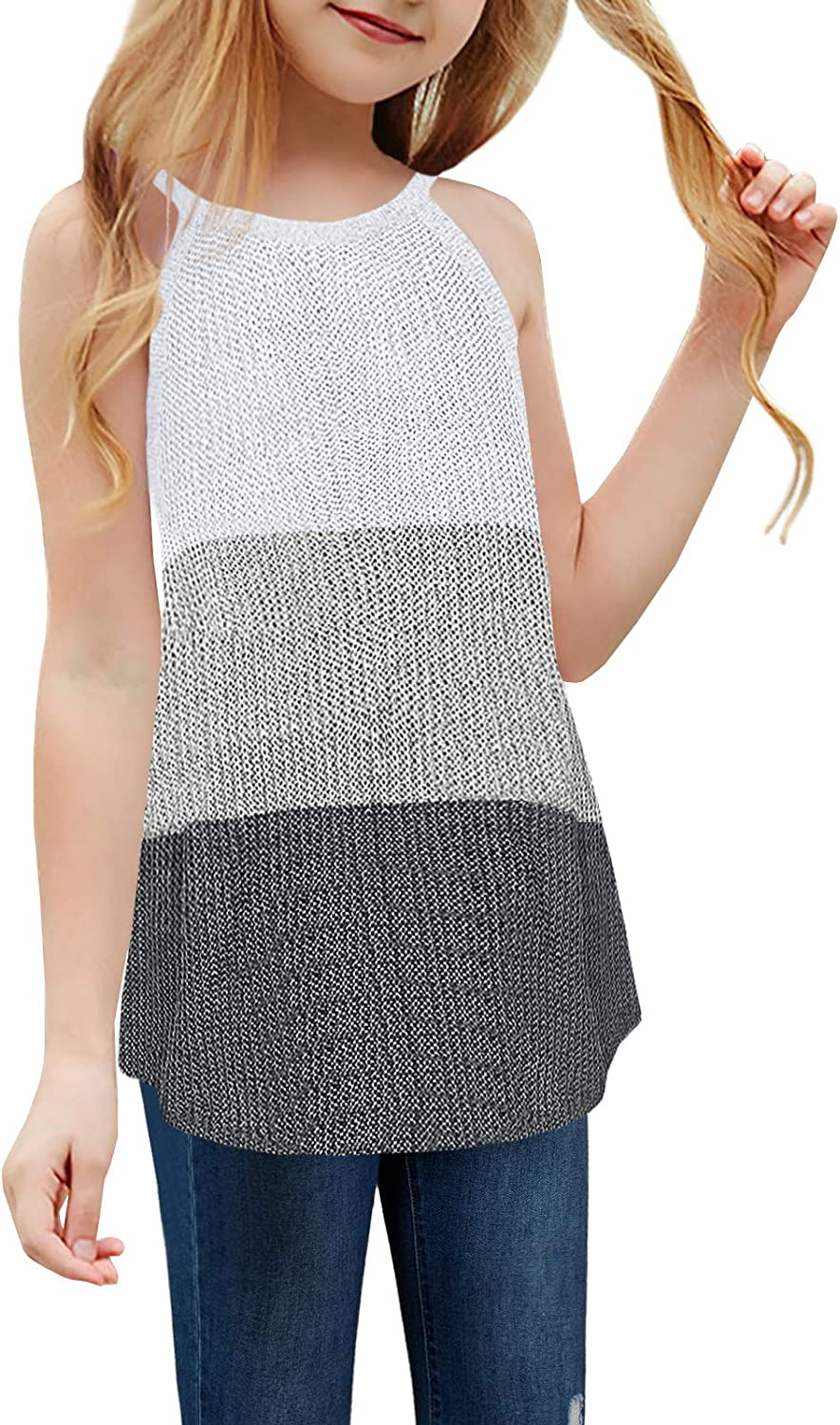 Girl's Sleeveless Knit Ranking TOP5 Tops Color Selling Block Loose Halter S Cami Neck