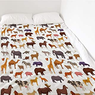 Matamade Flannel Blanket Big Wild Domestic and Farm Animals Decorative Icons Set Isolated Vector Illustration Lightweight Blanket Bed or Couch 40