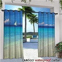 familytaste Nautical Indoor/Outdoor Single Panel Print Window Curtain Exotic Tropic Beach in Philippines Island Horizon Summer Paradise Concept Silver Grommet Top Drape W84 x L84 Turquoise Cream