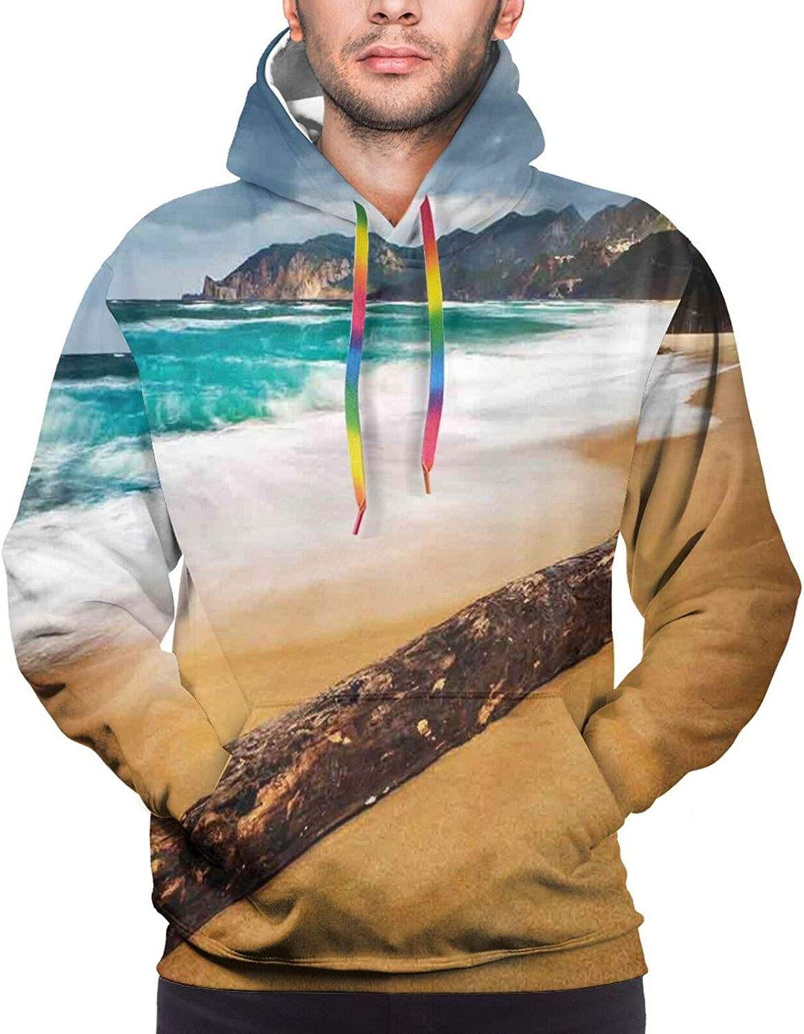 Men's Hoodies Sweatshirts,Seascape Theme Old Piece of Tree in The Beach with Stormy Weather