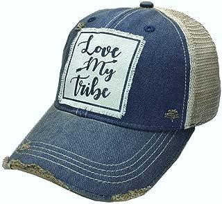 VINTAGE LIFE Distressed Washed Fun Baseball Trucker Mesh Cap (Love My Tribe (Navy Blue))
