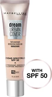 Maybelline Dream Urban Cover Flawless Coverage Foundation Makeup, SPF 50, Ivory