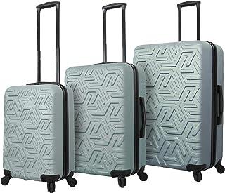 Mia Toro Italy Molded Art Maze Hard Side Spinner Luggage 3 Piece Set, Slate, One Size
