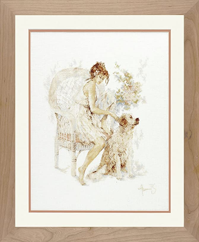 Counted Cross Stitch Kit: Girl in Chair Dog (Linen)