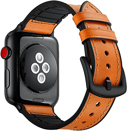 Elehome Compatible with Apple Watch Band 42mm 44mm, Sweatproof Genuine Leather and Rubber Hybrid Band Strap Compatible with iWatch Series 4 Series 3 Series 2 Series 1 (42mm 44mm) Sport and Edition (42mm / 44mm, Light Brown)