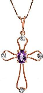 Galaxy Gold 0.57 Carat 14k White Rose Yellow Solid Gold Faith Amethyst Diamond Cross Pendant Necklace 4085 (Rose-Gold, 14k)