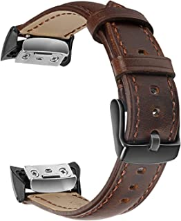 Gear Fit2 / Fit2 Pro Watchband, TRUMiRR Genuine Leather Band Sports Strap Wrist Bracelet for Samsung Gear Fit 2 SM-R360 / Fit 2 Pro SM-R365 Smart Watch, Dark Brown
