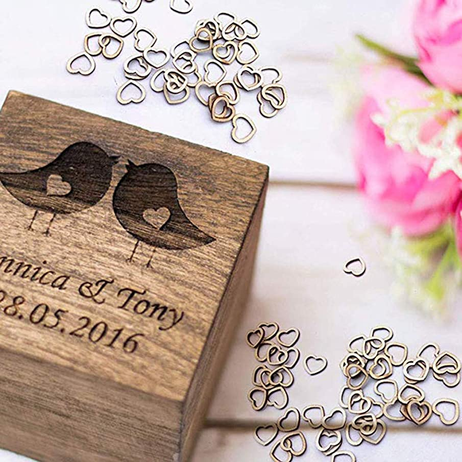 Yu2d ???? 100pcsWedding Table Decorations Hollow Rustic/Vintage Wooden Hearts Love Con(Khaki A)