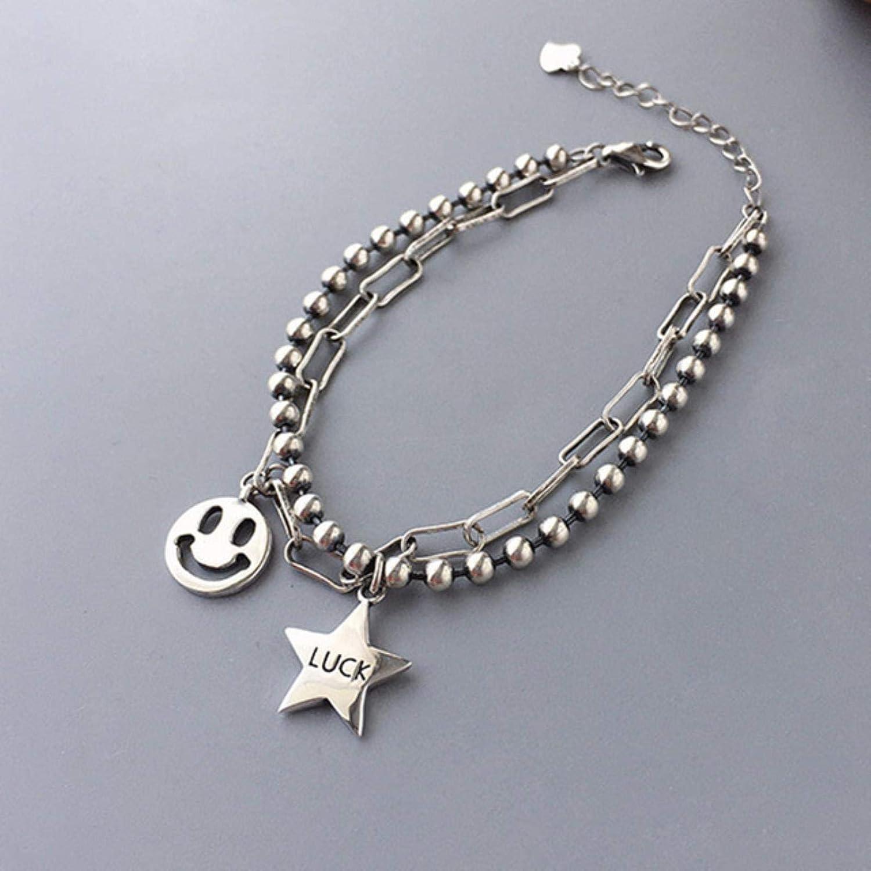 LuckyOne Pulsera de plata de ley 925 a la moda para las mujeres vintage hecha a mano sonriente pulseras de cara fina joyería regalos de cumpleaños