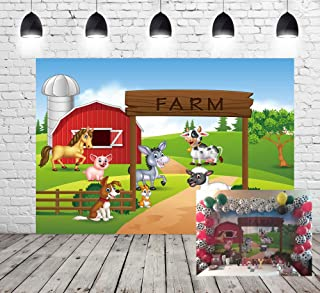 Farm Theme Photography Backdrop Red Barn Animals Barnyard House Kids Birthday Background Photo Studio New Photocall Baby Shower Newborn Photography XT-6525