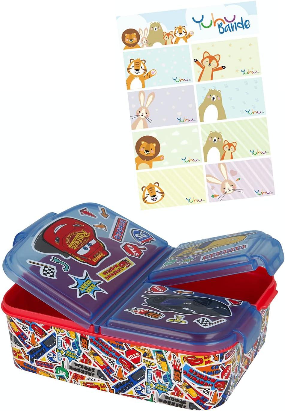 Cars caja de almuerzo fiambrera caja de comida para niños con 3 compartimentos separados + y pegatinas de nombre para niños