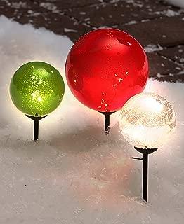The Lakeside Collection Set of 3 Solar Christmas Gazing Balls -