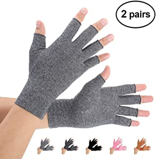 Brace Master 2 Pairs Compression Arthritis Gloves Support and Warmth for Hands, Finger Joint, Relieve Pain from RSI, Carpal Tunnel and Tendonitis for Women and Men (Gray, Large)