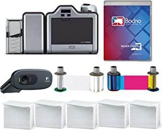 Fargo HDP5000 Dual Sided ID Card Printer & Complete Supplies Package with Silver Edition Bodno Software