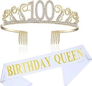 BABEYOND 100th Birthday Tiara and Sash Crystal Happy Birthday Crown and Satin Birthday Queen Sash 100th Birthday Party Supplies Rhinestone 100th Princess Crown and Glitter Sash (Set-1)