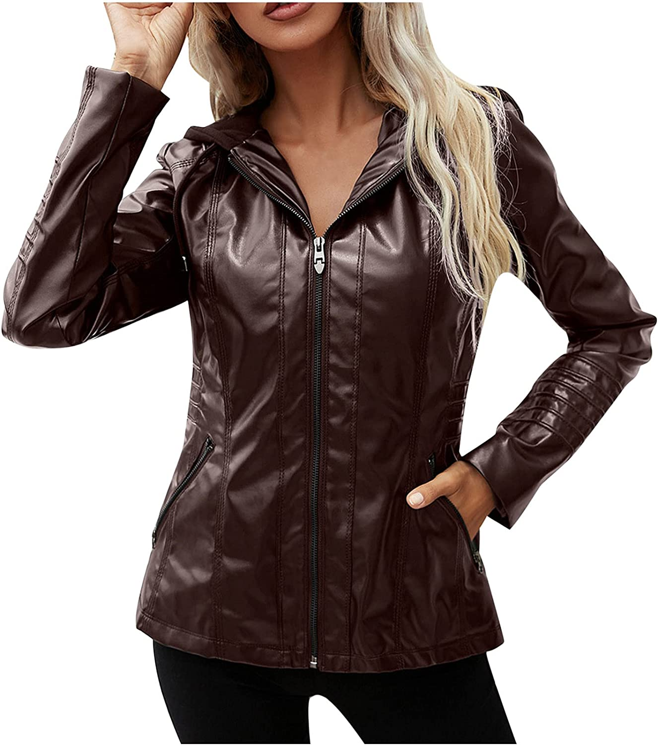 Auwer Women's Solid Zip up Jackets Leather Hooded Coats Plus Size Outerwear Solid Fashion Work Jacket with Pocket