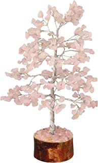 Rose Quartz Tree For Natural Color Healing Gemstone Tree Feng Shui Bonsai Money This Positive Energy Gem Tree looks divine Wealth Health & Prosperity Spiritual Gift 10 Inches Approx (Silver Wire)